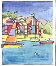 Boat Beach Scene I poster print by Les Miles