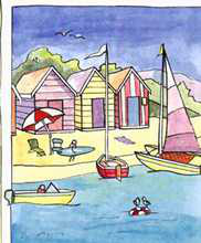 Boat Beach Scene II poster print by Les Miles