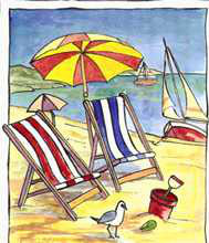 Deck Chair Beach Scene I poster print by Les Miles