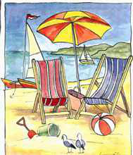 Deck Chair Beach Scene II poster print