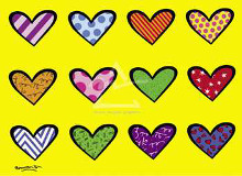 Hearts Darts poster print by Romero Britto