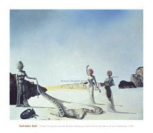 Three Young Surrealist Women Holding In poster print by Salvador Dali