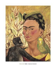 Self-Portrait With Monkey And Parrot, 19 poster print by  Kahlo