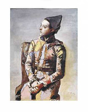 Portrait of a Harlequin poster print by Pablo Picasso