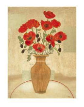 Crimson Poppies poster print by Beverly Jean