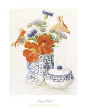Nasturtiums and Blues poster print