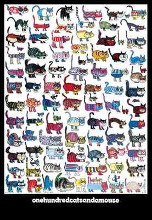 100 Cats and a Mouse poster print