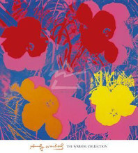 Flowers, 1970 (Red, Yellow, Orange On Bl poster print by Andy Warhol