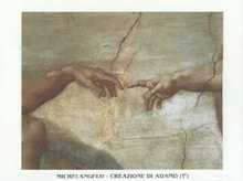 Creation of Man (Detail-hands) poster print by  Michelangelo