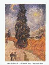 Cypresses and Two Figures poster print by Vincent van Gogh