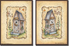 Outhouse - His & Hers poster print by Mary June