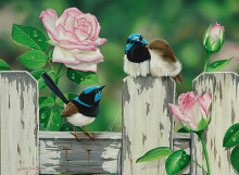 Wrens and Roses poster print by Natalie Jane Parker