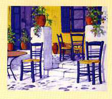 Chairs on Patio poster print by Marino Kounias