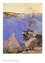 From McMahon's Point, Fare one penny 1890 poster print by Arthur Streeton
