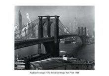 Brooklyn Bridge New York 1948 poster print by Henri Silberman