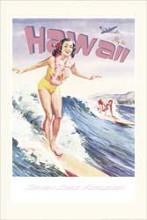Fly to Hawaii poster print