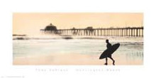 Surfer at Huntington Beach poster print by Thea Schrack