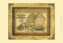 Crackled Map Of Europe poster print