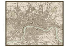 Sepia Map Of London poster print