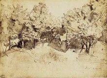 Sepia Corot Landscape poster print by Jean-Baptiste C Corot