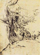 Sepia Tree Study poster print by Jean-Baptiste C Corot