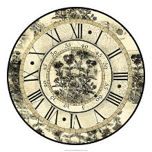 Antique Floral Clock poster print by Vision Studio