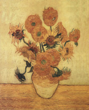Sunflowers On Gold poster print by Vincent van Gogh