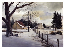 Snow Fields - Winter Barn poster print by Michael Humphries