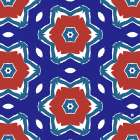 Red White and Blue Flowers II poster print by Linda Woods