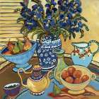 Blue And White With Oranges poster print by Suzanne Etienne