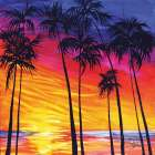 Tropical Sunset poster print by Sharlena Wood