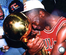 Michael Jordan Game 5 of the 1991 NBA Finals with Championship Trophy poster print by  Unknown