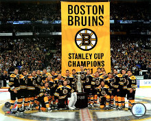 The Boston Bruins raise their 2011 Stanley Cup Chapionship Banner poster print by  Unknown