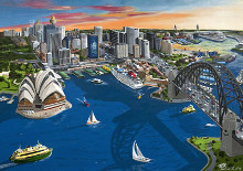 Sydney Harbour - Stretched canvas poster print by Patrick Hawkins