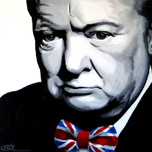 Winston Churchill & Union Jack Bow-tie poster print