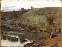 A quiet day on Darebin Creek poster print by Tom Roberts