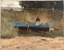 Boat on beach Queenscliff poster print by Tom Roberts