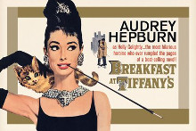 Audrey Hepburn Breakfast Gold poster print by  Novelty