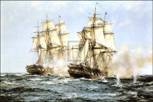'Java' and 'Constitution' poster print by Montague Dawson
