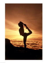 Silhouette of a young woman practicing yoga, Haleakala National Park, Maui, Hawaii, USA poster print by  Unknown