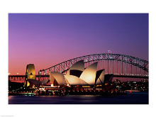 Opera house lit up at night, Sydney Opera House, Sydney Harbor Bridge, Sydney, Australia poster print by  Unknown