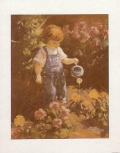 Child Watering Garden (Front View) poster print by Kandy Tate
