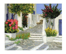 Escaliers a Mykonos poster print by  Arven