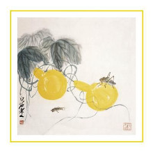 Grasshoppers on Yellow Gourds poster print by  Baishi